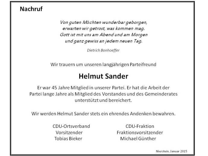 Im Januar 2015 ist das langjährige CDU Mitglied Helmut Sander verstorben. Die CDU wird Helmut Sander stets ein ehrendes Andenken bewahren.